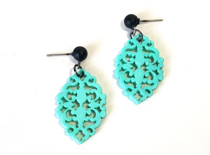 turquoise lace earrings