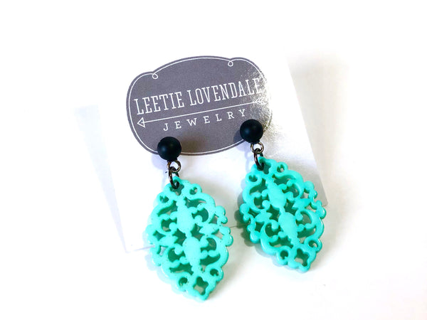 turquoise black earrings