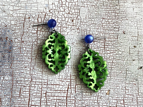 bright green diamante earrings