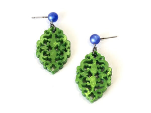 green statement drop earrings