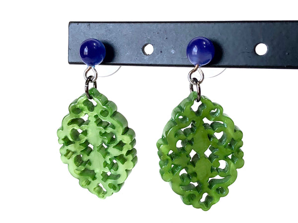 bright green lace earrings