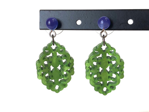 Green Glow Diamante Drop Earrings | Bohemian Lace Cut Resin Earrings