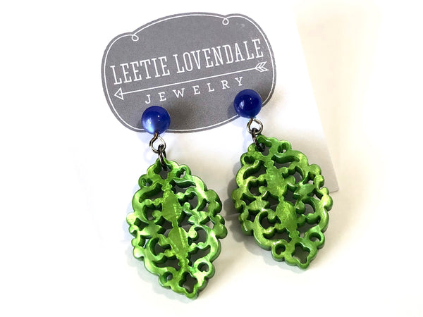 green moonglow earrings