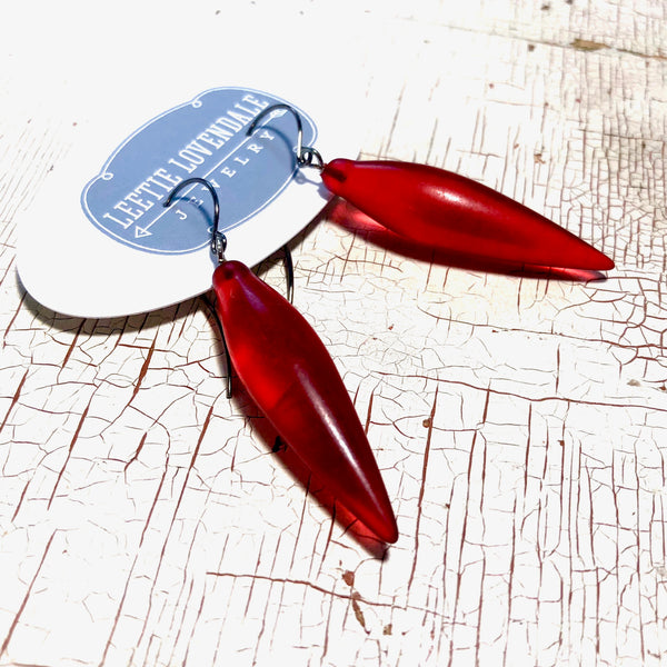 cherry red drop earrings