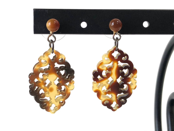 tortoise lace earrings