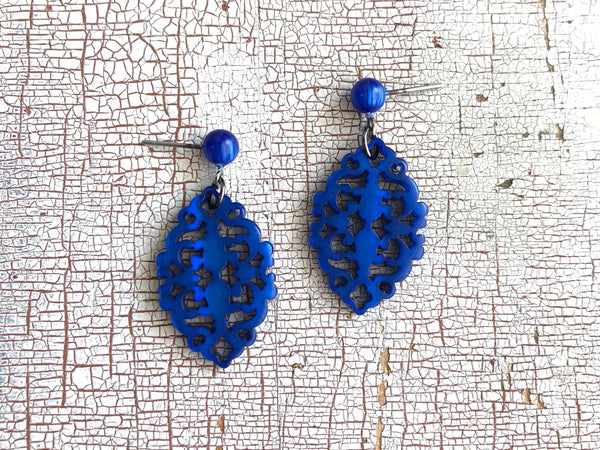 laser carved blue earrings