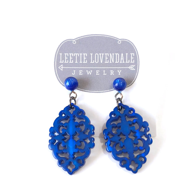 royal blue diamante earrings