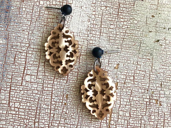 camel diamante earrings