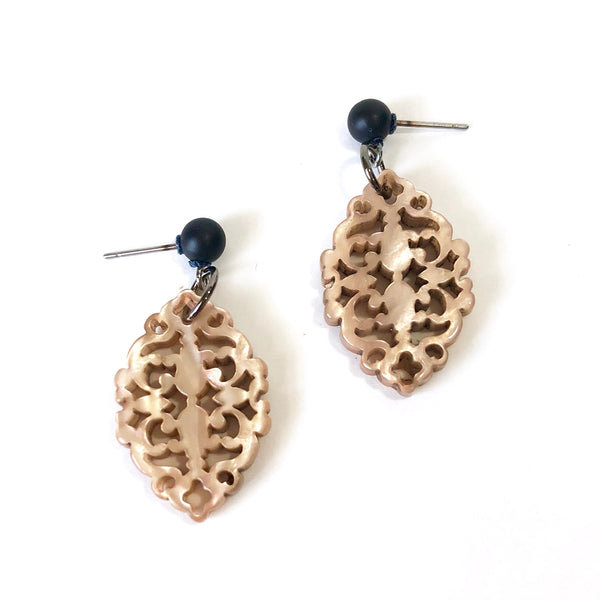 small statement earrings beige