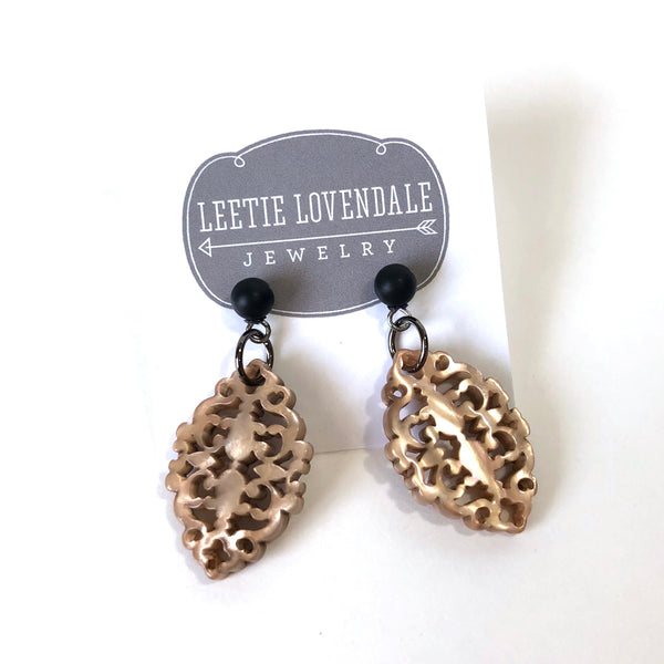 black and beige earrings