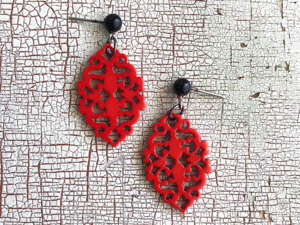 red diamante earrings