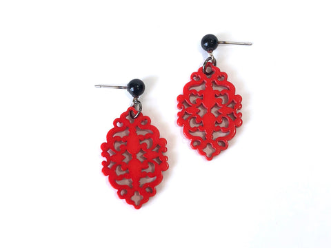cherry red diamante earrings