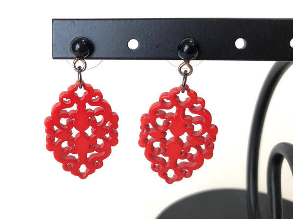 red diamante earrings leetie