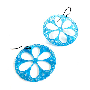 aqua blue lace earrings