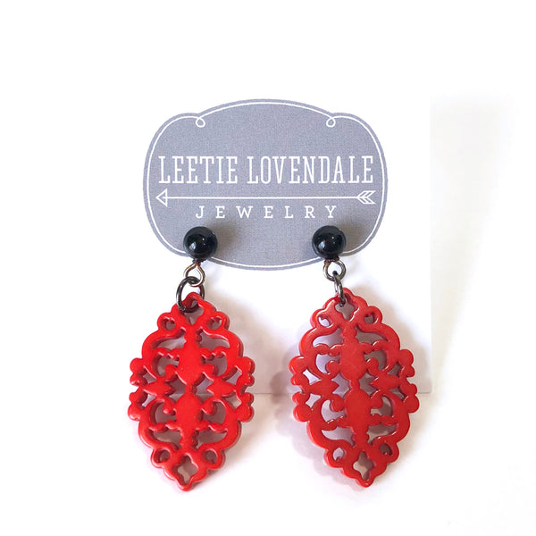 bright red diamante earrings