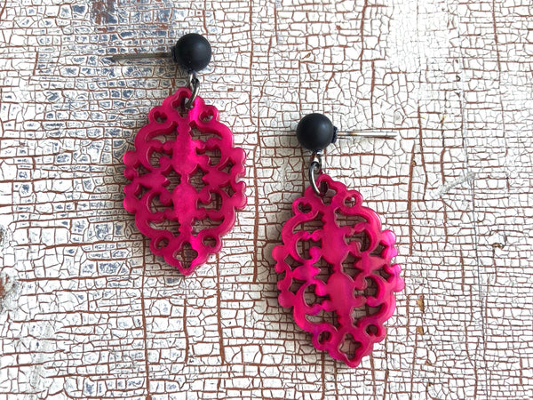 hot pink moonglow earrings