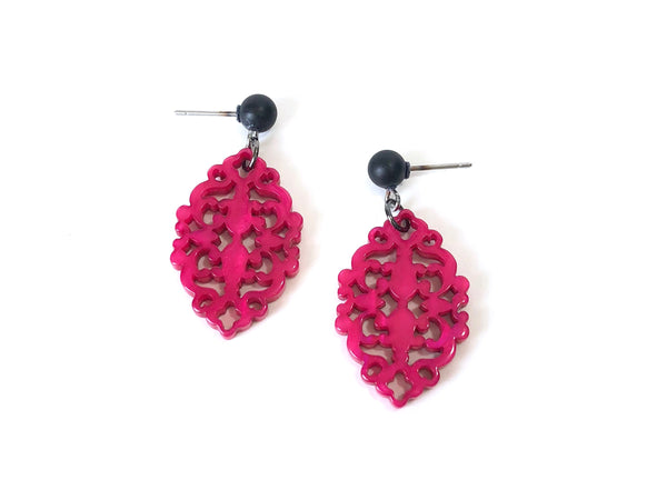 fuchsia lace earrings