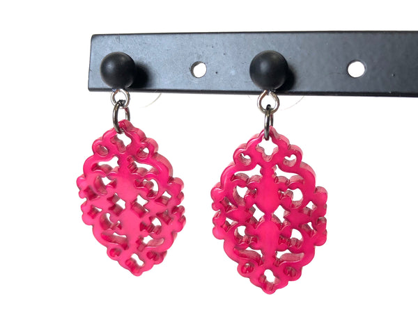hot pink glow earrings