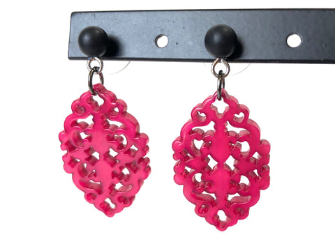 hot pink diamante earrings
