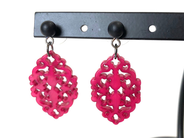 dark pink diamante earrings