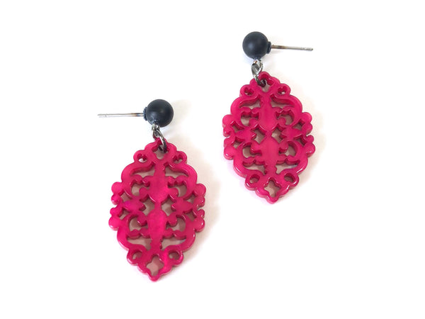 carved resin earrings pink