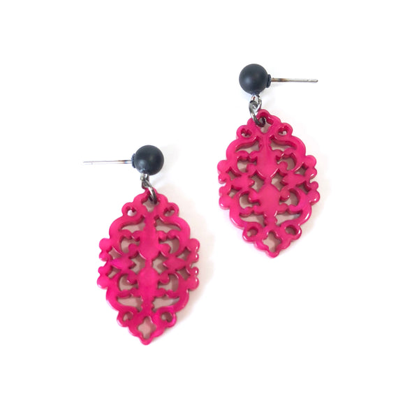 fuchsia earrings lace