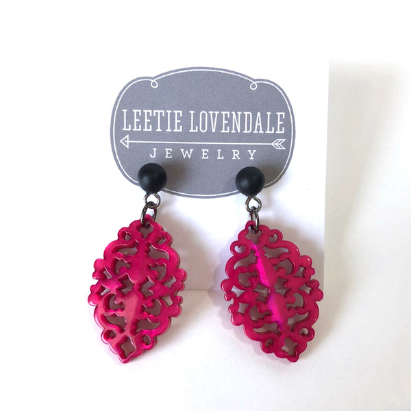 bright pink earrings leetie