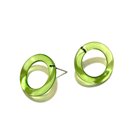 Prickly Pear Green Donut Stud Earrings