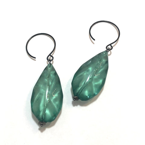 Seafoam Green Rippled Teardrops on Hooks