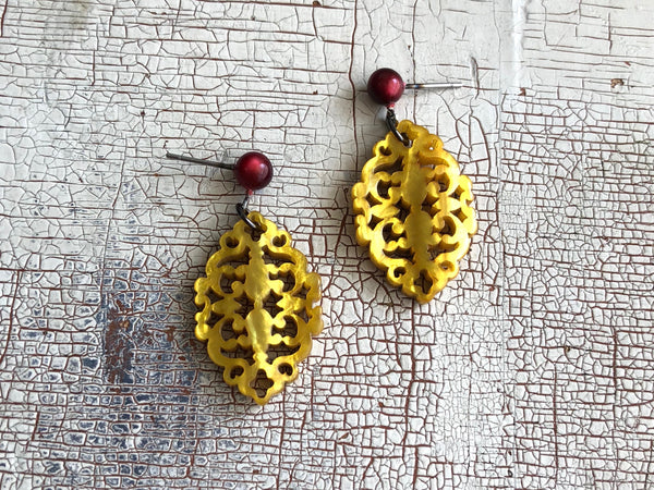 gold statement earrings resin