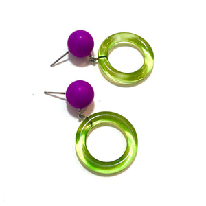 Prickly Pear Green & Violet Donut Drop Earrings