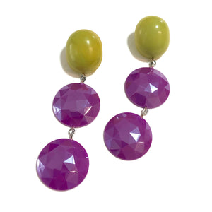 Violet Luster & Chartreuse Lime Statement Earrings