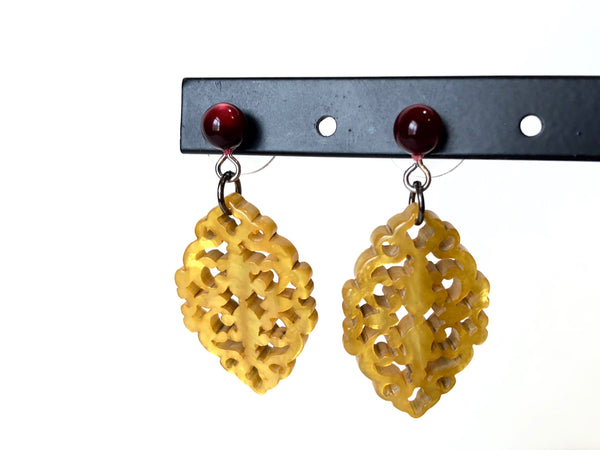 golden resin earrings