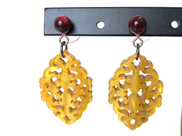 golden red earrings