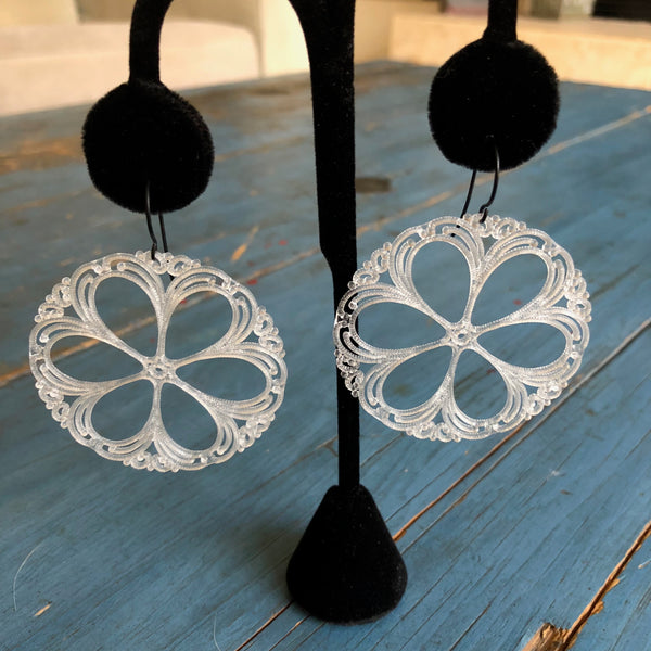 lace shield earrings