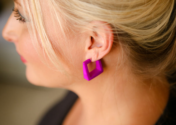 cubist hoop earrings violet