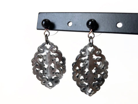 dark gray statement earrings