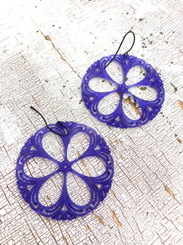 bright blue earrings lace