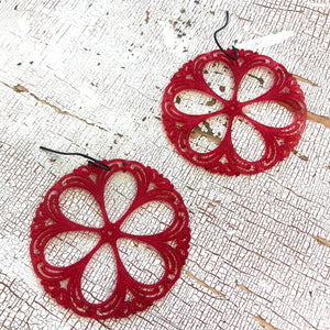 red lace earrings