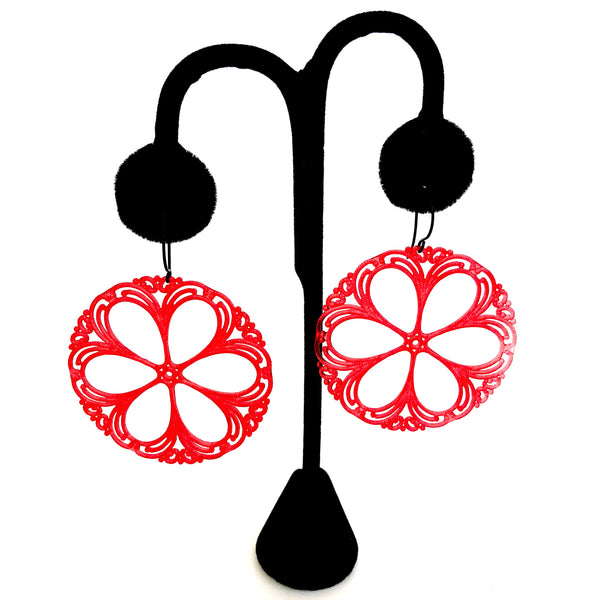 red statement acrylic earrings