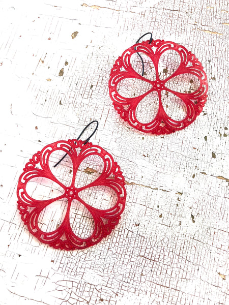 lacy red earrings