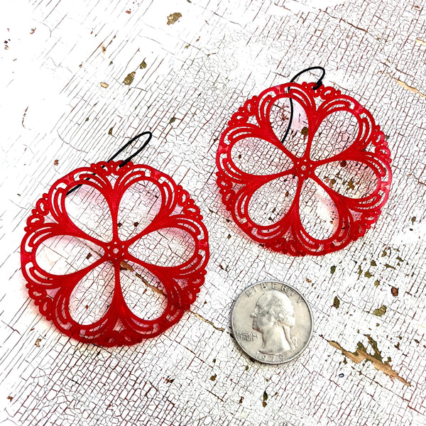 bright red acrylic earrings