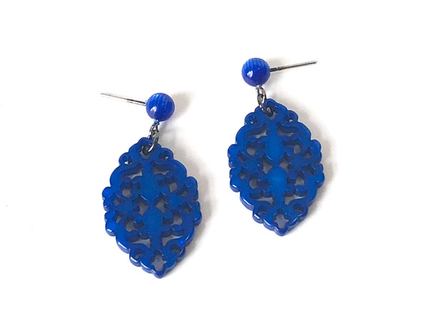 bright blue lace earrings