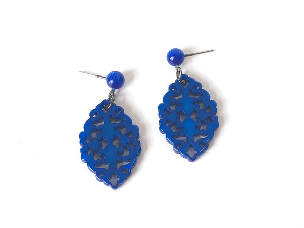 bright blue diamante earrings