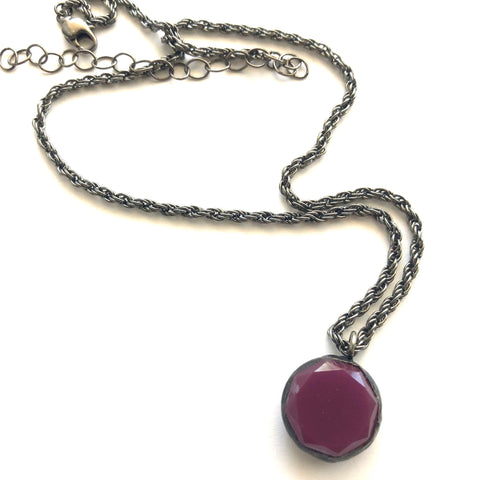 Violet Luster & Gun Metal Layering Necklace - Shortie