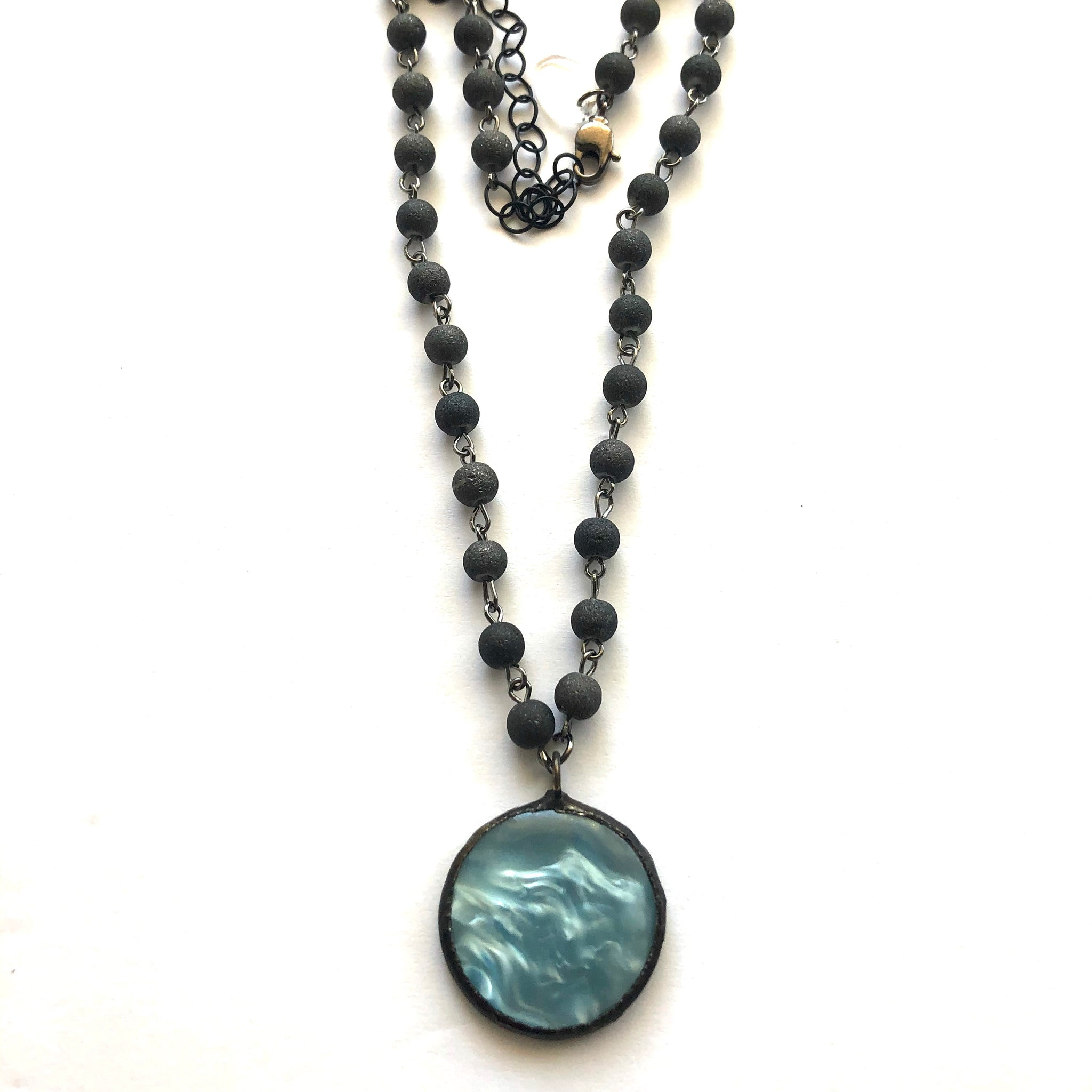 Ice Blue Moonglow & Agate Beaded Layering Necklace - Shortie
