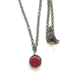 Ruby Luster & Gun Metal Layering Necklace - Medium