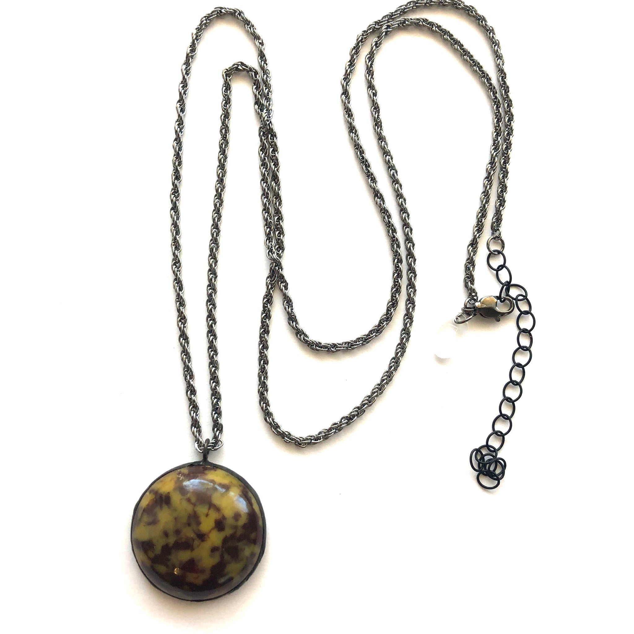 Spotted Tortoise & Gun Metal Layering Necklace - Long