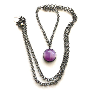 Lavender Striped Moonglow & Gun Metal Layering Necklace - Long