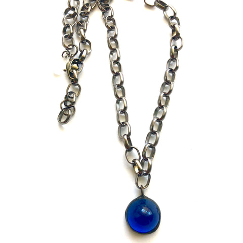 Capri Blue & Gun Metal Layering Necklace - Shortie